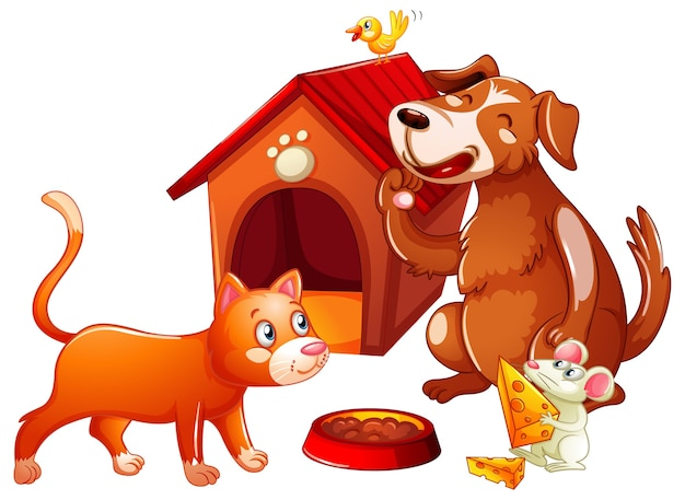 Doghouse with pet animal cartoon character Free Vector