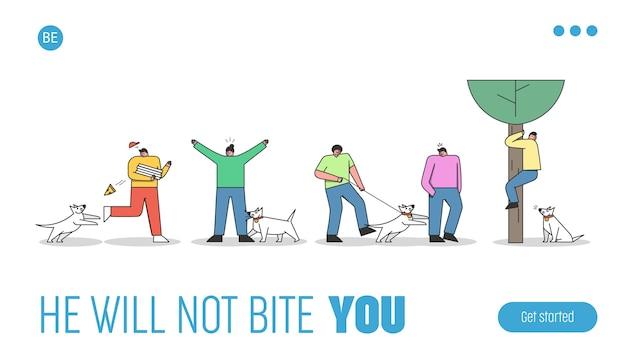 犬が吠えたり噛んだりする人々を攻撃します。コントロールまたはペットの犬のハンドラーのランディングページテンプレート Premiumベクター