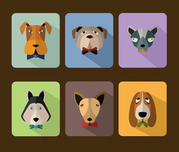 Dogs avatar icon set Premium Vector