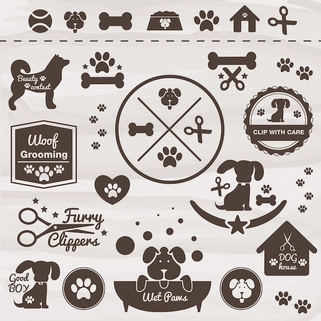Dogs badges Premium Vector