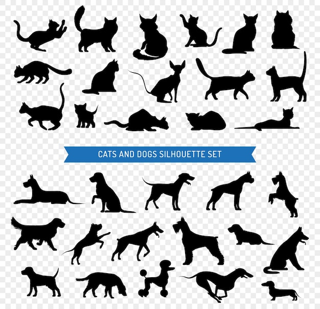 Dogs and cats black silhouette set Free Vector