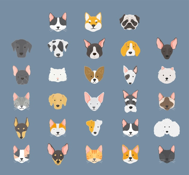 Dogs collection Free Vector