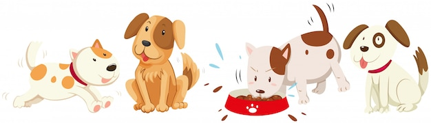 Dogs in different actions Free Vector