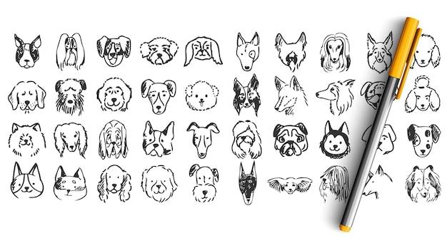개 낙서 세트. 손으로 그린 연필 잉크 드로잉 스케치의 컬렉션입니다. 가축 강아지 Dolmatins Chihuahua Pug Spitz Pets Muzzles. 프리미엄 벡터