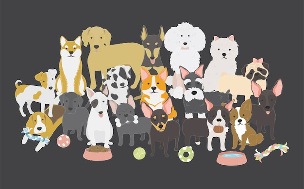 Dogs family Free Vector