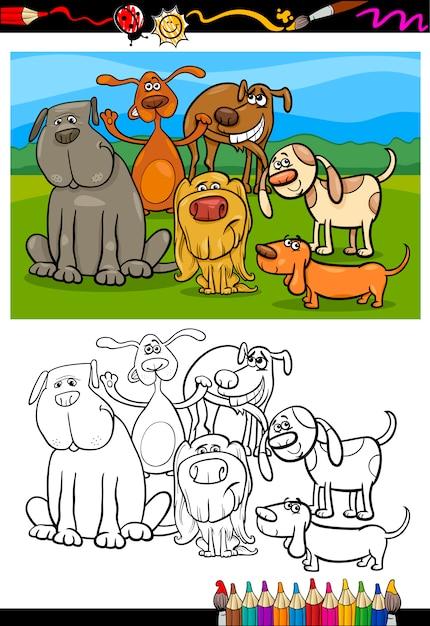Собака группа мультфильм раскраски Premium векторы