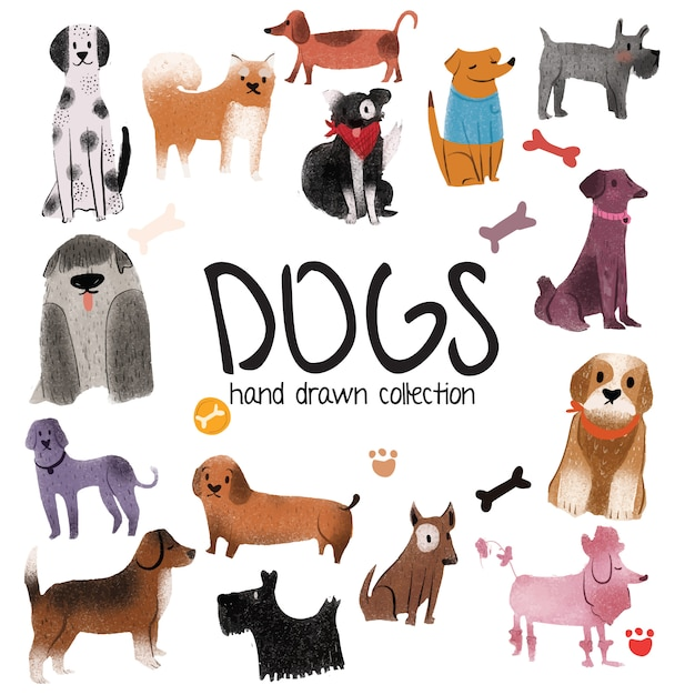 Dogs - hand drawn collection Premium Vector
