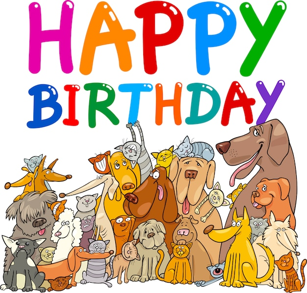 Dogs Happy Birthday Premium Vector