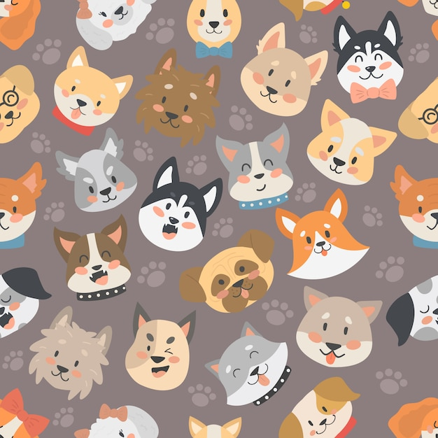 Dogs heads seamless pattern background vector isolated. Premium Vector