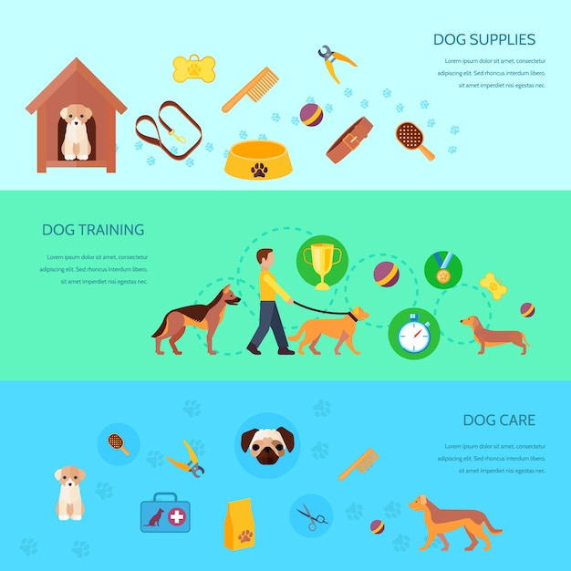 Dogs puppies training feeding care products and supplies 3 flat  horizontal banners set abstract isolated vector illustration Free Vector