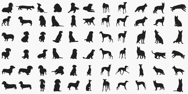 Dogs silhouettes Premium Vector