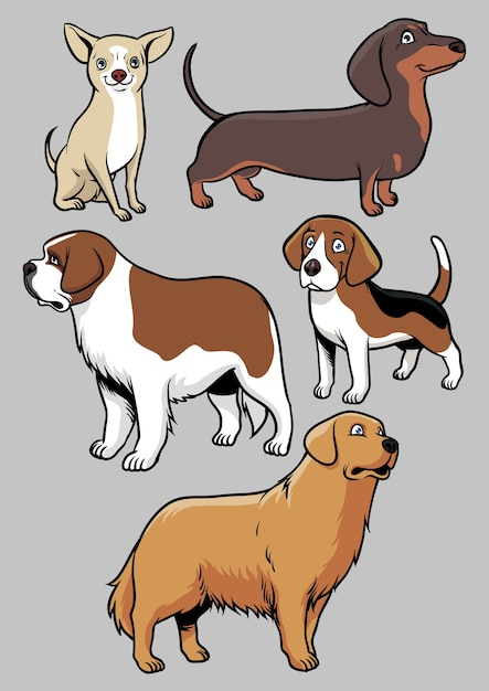 Dogs vector collection Premium Vector