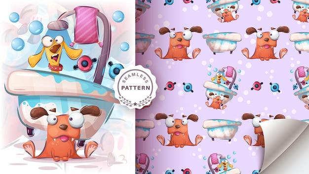 犬はお風呂で洗う-シームレスなパターン 無料ベクター