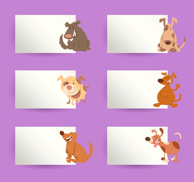 Dogs with cards cartoon  elements set Premium Vector
