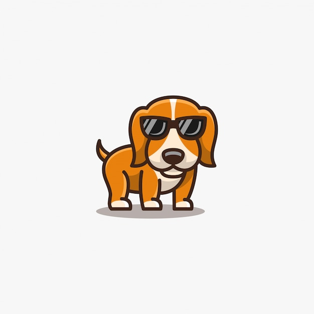 Dogy cute pose with spectacles illustration . Premium Vector