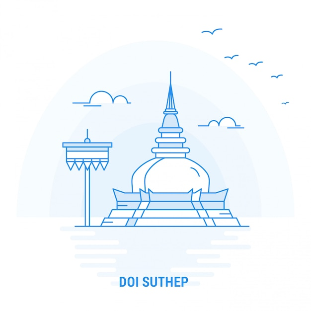 Doi suthep blue landmark Premium Vector