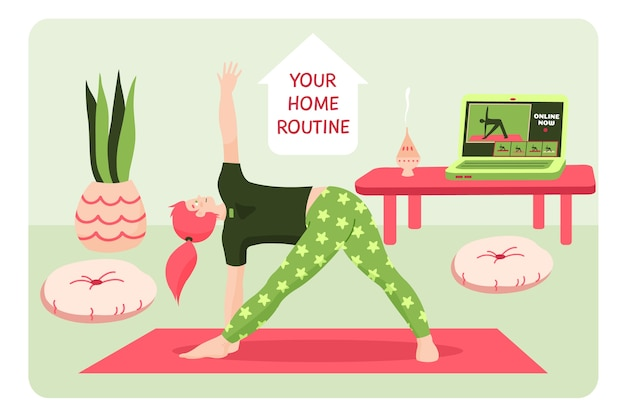 Doing fitness exercises in the living room Free Vector