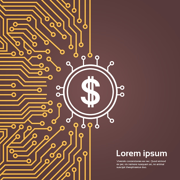 Dolar sign over computer chip moterboard backgroung network data center system concept banner Premium Vector
