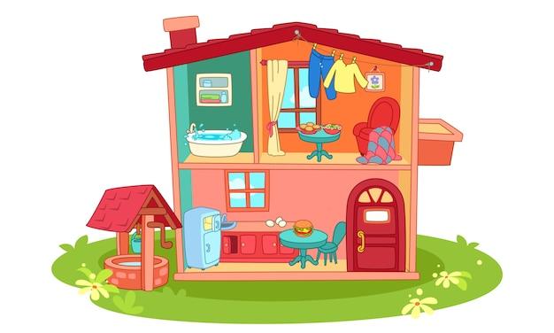 Doll house cartoon illustration Premium Vector
