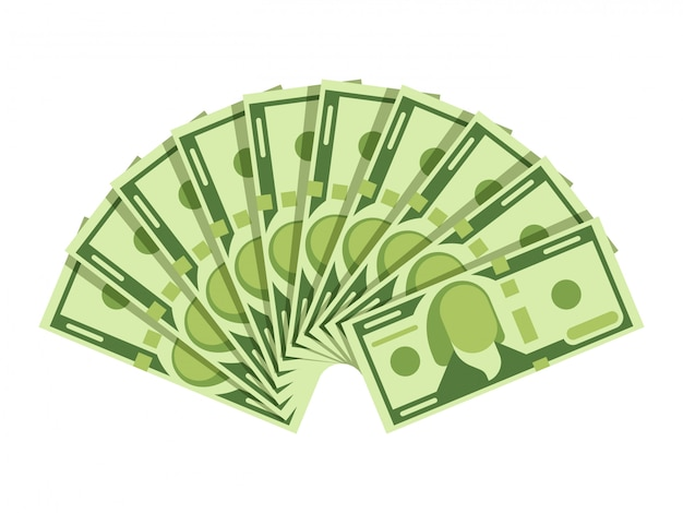 Dollar banknotes fan. green currency cash notes. investment vector concept Premium Vector