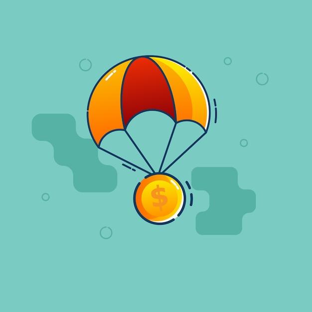 Dollar coin fly with parachute Premium Vector