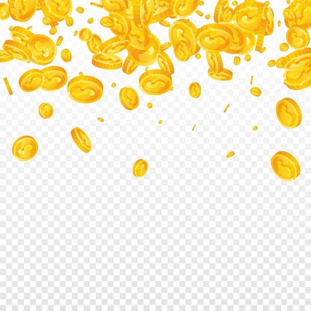 透明な背景に落ちる1ドル硬貨 Premiumベクター