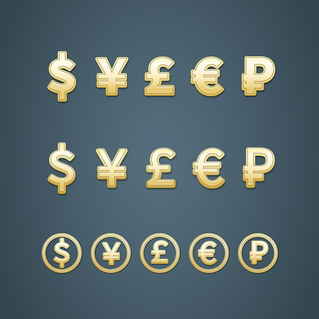 ドルユーロポンド円とルーブルのアイコンベクトルイラスト 無料ベクター