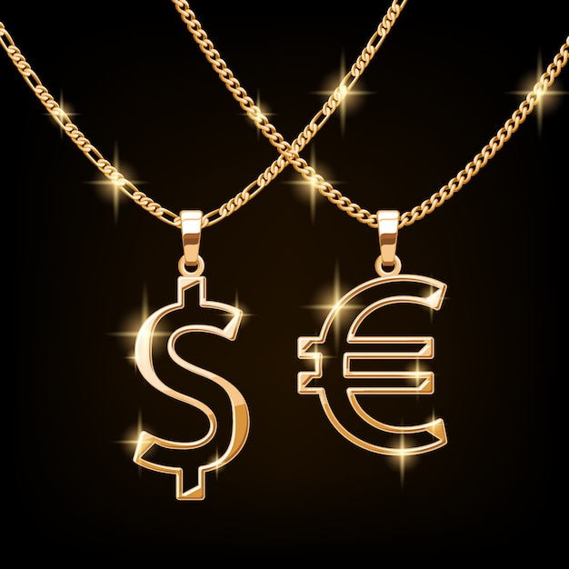 Dollar and euro sign jewelry necklace on golden chain. hip-hop style. Premium Vector