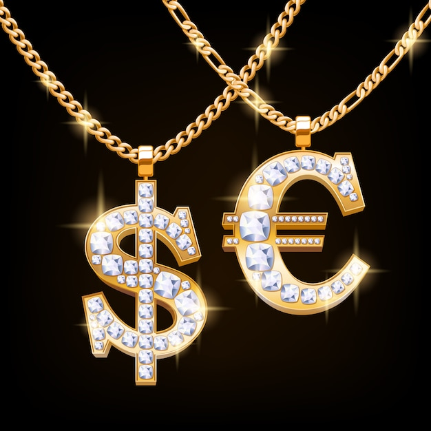 Dollar and euro sign jewelry necklace with diamonds gemstones on golden chain. hip-hop style. Premium Vector