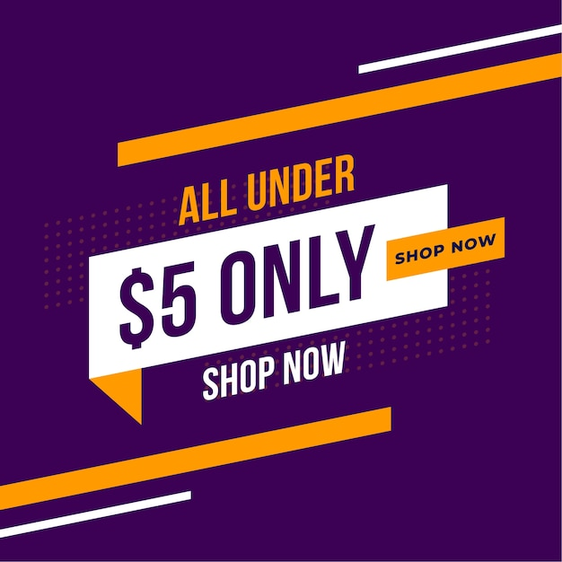 Dollar five only store promotional banner Free Vector