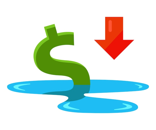 The dollar is drowning in a puddle. falling economy in the united states. flat vector illustration isolated on white background. Premium Vector