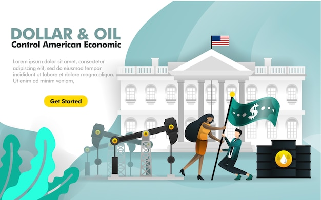 Dollar and oil control america with white house Premium Vector