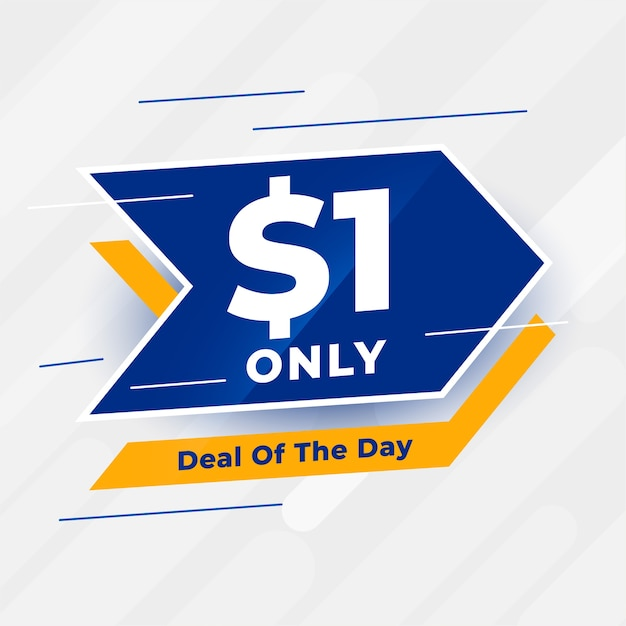 Dollar one only deal of the day banner Free Vector