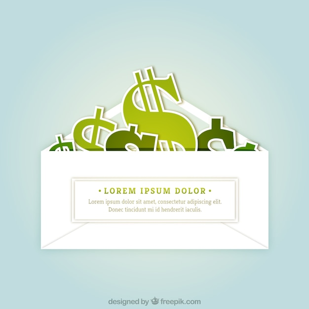 Dollar signs inside a envelope Free Vector