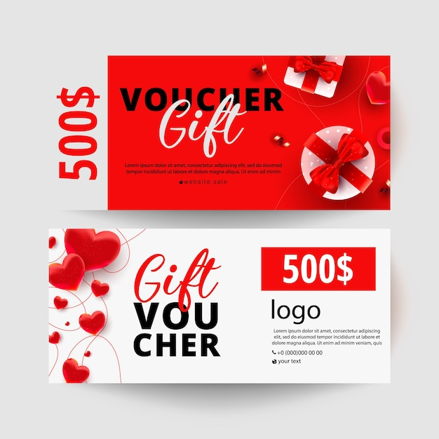Dollars gift certificate with realistic surprise gift boxes, love shape decor on white minimal coupon. gift voucher Premium Vector