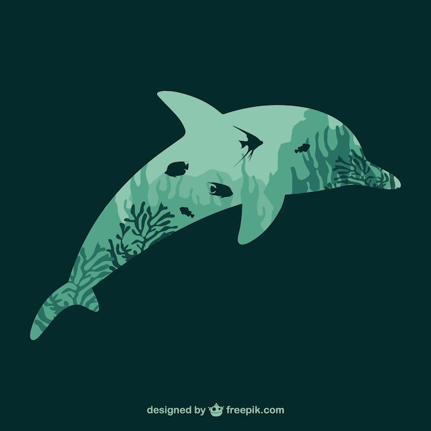 Dolphin coral silhouette Free Vector