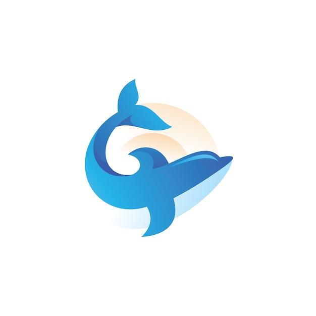 イルカ魚哺乳類ロゴイラスト Premiumベクター