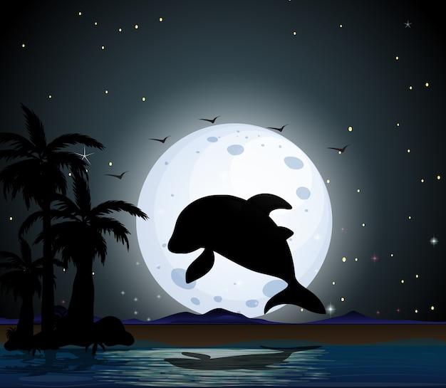 Dolphin in nature scene silhouette Free Vector