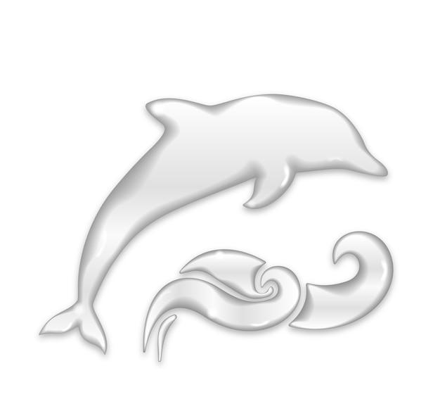 水滴とイルカのシルエット 無料ベクター