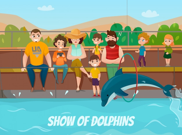 Дельфинарий и семейная иллюстрация Бесплатные векторы