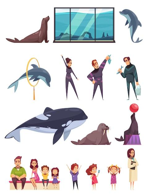 Delfinario con animali e operai Vettore gratuito
