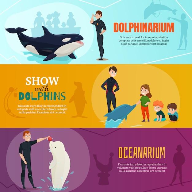 Набор баннеров для шоу дельфинариумов Бесплатные векторы