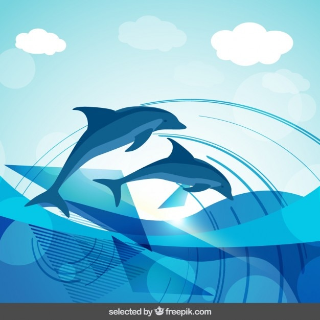 Dolphins abstract background Free Vector