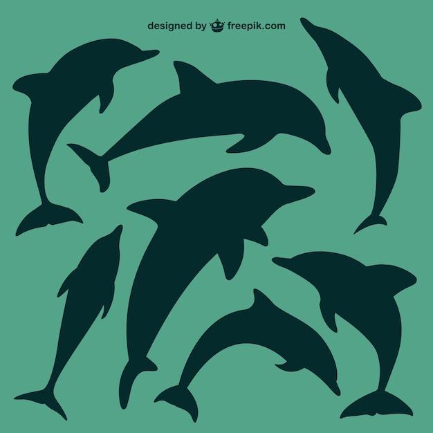 Дельфины силуэты набор Premium векторы