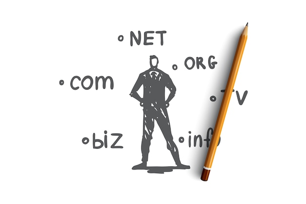 Domain, internet, name, web, hosting concept. hand drawn domain names and technology specialist concept sketch. Premium Vector
