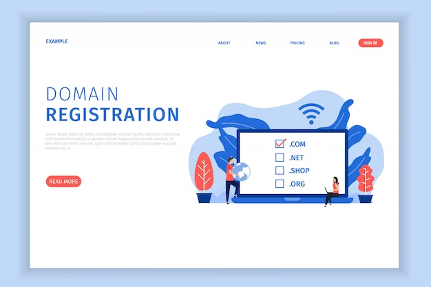 Domain registration landing page illustration Premium Vector