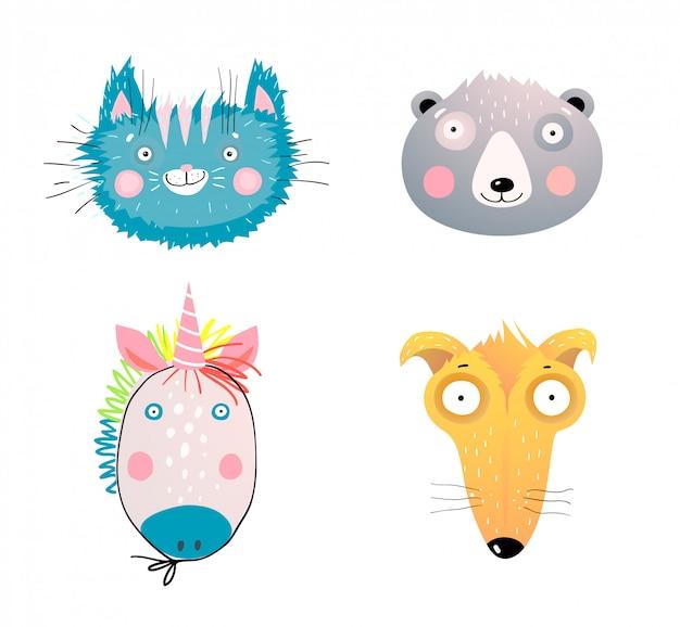 Набор иллюстраций лица домашних и диких животных. очаровательные выражения лица домашних животных. очаровательны котенок, гризли, головы медведя панды. удивленная собака, щенок с большими глазами. абстрактный детский фэнтезийный единорог Premium векторы