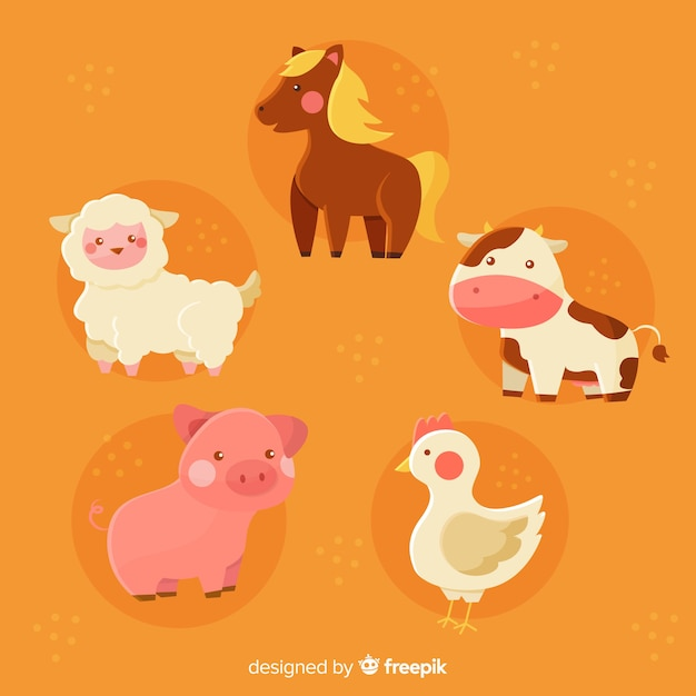 Domestic animal collection draw concept Free Vector