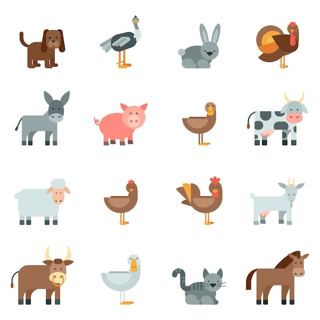Domestic animal flat icons set Free Vector
