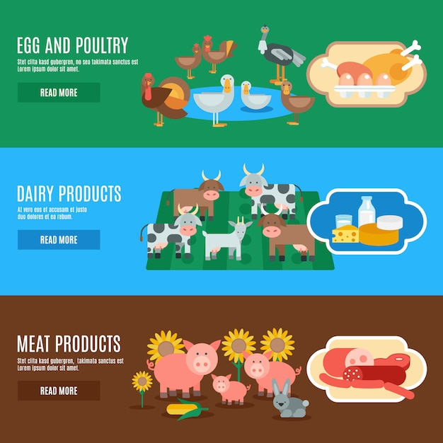 Domestic animals banner Free Vector